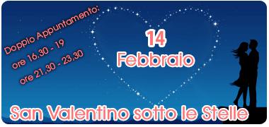 san valentino sotto le stelle, domenica 14 febbraio