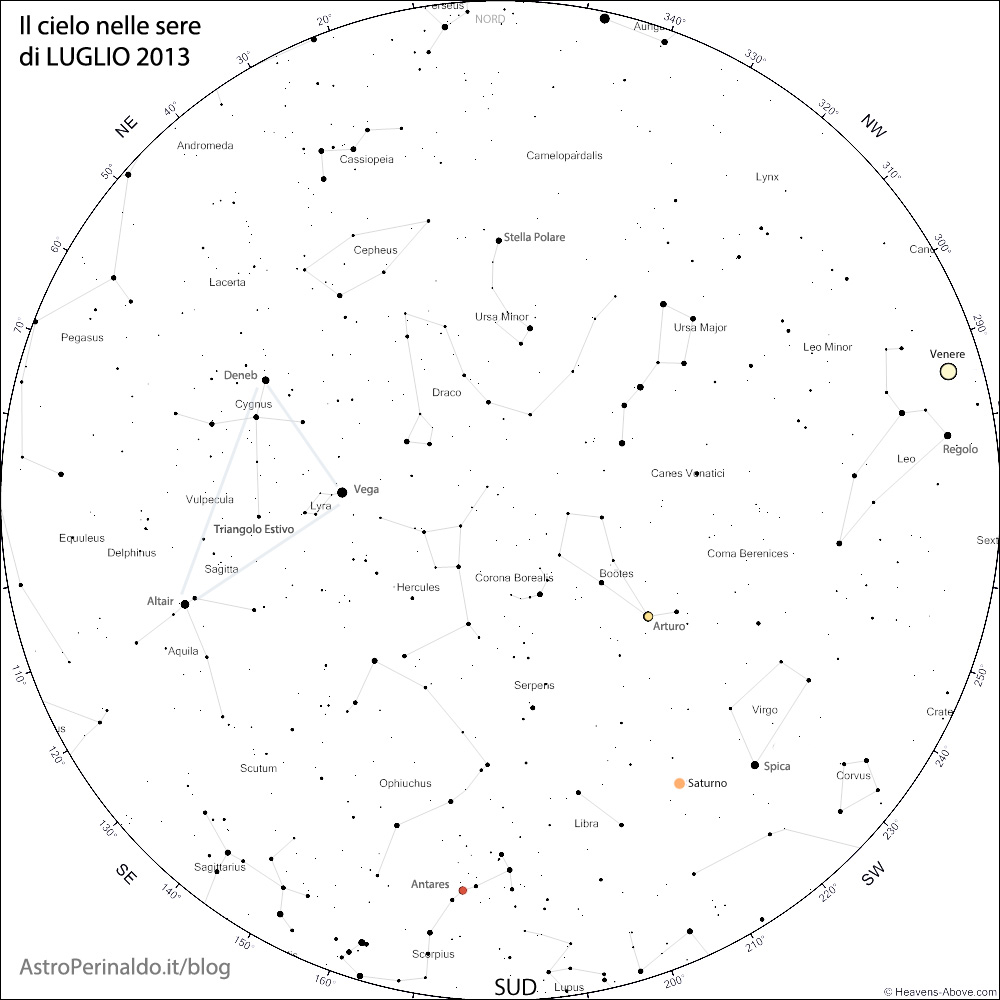 Mappa del cielo di Luglio 2013
