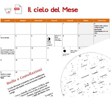 il cielo di gennaio, cartina stellare e calendario eventi celesti