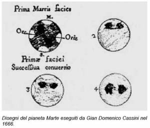 Marte disegnato da G.D.Cassini nel 1666