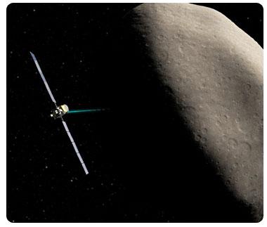 vesta e la sonda dawn, rappresentazione artistica